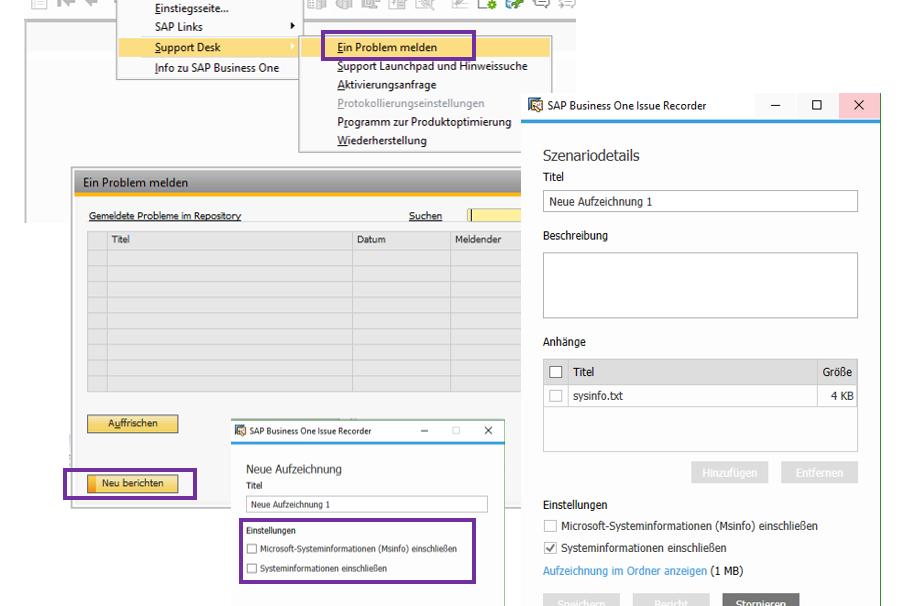 SAP Business One Problem melden